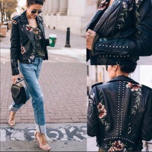 Vegan leather moto jacket with floral appliqué